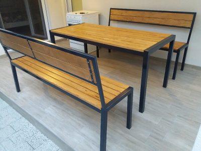 Garnitura za sedenje metal drvo